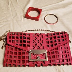 Red set : hot crossbody bag & 2 bracelet